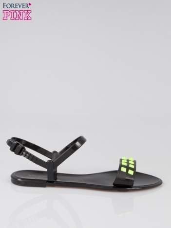 Czarne gumowe sandały meliski z dżetami