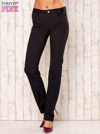 Czarne proste spodnie z napami