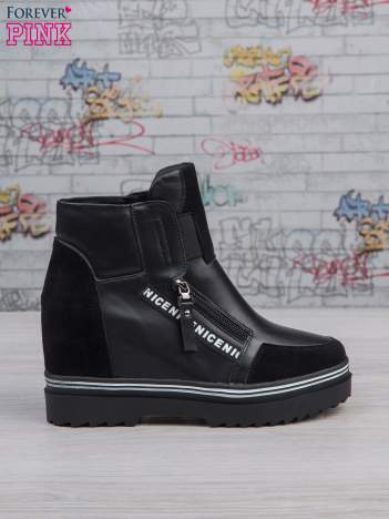 Czarne skórzane sneakersy z zamszowymi wstawkami i suwakami