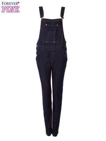 Granatowe ogrodniczki jeansowe z kieszeniami