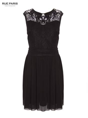 Sukienka z aplikacją z czarnej koronki i rozkloszowanym dołem