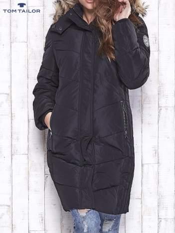 TOM TAILOR Czarny płaszcz z futrzanym kapturem