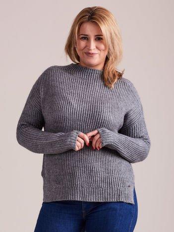 TOM TAILOR Szary wełniany sweter o grubszym splocie