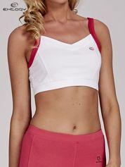 Butik Biały top stanik sportowy z różowymi ramiączkami i wycięciem z tyłu