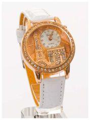 Biały zegarek damski z cyrkoniami na skórzanym pasku