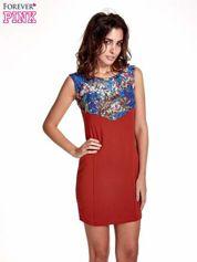 Bordowa sukienka z kwiatową koronką