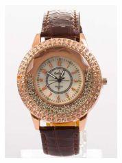 Brązowy damski zegarek na pasku ze skóry lakierowanej
