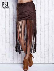Ciemnobrązowa zamszowa spódnica z frędzlami