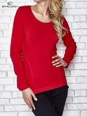 For Fitness Ciemnoczerwona bluzka sportowa z dekoltem U