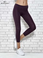 Ciemnofioletowe legginsy sportowe z aplikacją z dżetów na nogawkach