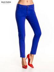 Rue Paris Ciemnofioletowe spodnie materiałowe w stylu chinos