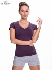 Ciemnofioletowy modelujący damski t-shirt sportowy