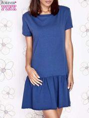 Ciemnoniebieska dresowa sukienka z wycięciem na plecach