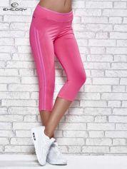 Ciemnoróżowe legginsy 3/4 sportowe termalne z lampasami