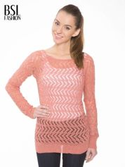 Ciemnoróżowy ażurowy dłuższy sweter