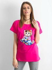Ciemnoróżowy luźny t-shirt Sweetness