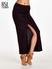 Czarna spódnica maxi z dużym rozporkiem
