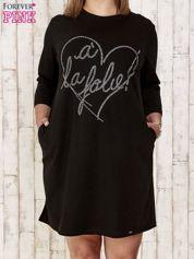 Czarna sukienka dresowa z dżetami PLUS SIZE