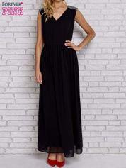 Czarna sukienka maxi z pagonami z dżetów