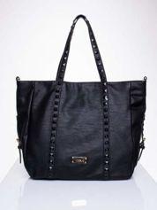 Czarna torba shopper bag z kolorowymi ćwiekami