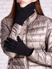 Butik Czarne rękawiczki ze srebrną nicią z wywijanym mankietem
