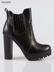 Rue Paris Czarne wysokie botki na platformie stylizowane na sztyblety