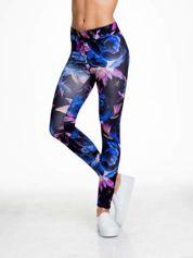 Czarno-niebieskie legginsy w abstrakcyjny wzór