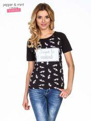Czarny t-shirt z napisem J'AIME LE WEEKEND