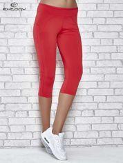 Czerwone legginsy 3/4 sportowe termalne z lampasami
