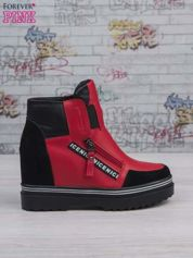 Czerwone skórzane sneakersy z zamszowymi wstawkami i suwakami