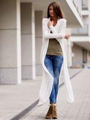 Ecru długi sweter wzór melanżowy