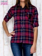 Fioletowa koszula w kolorową kratę