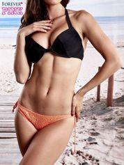 Fluokoralowe koronkowe figi od bikini wiązane po bokach