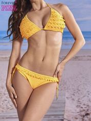 Fluopomarańczowy stanik od bikini z falbankami w serduszka