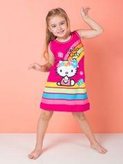 Fuksjowa sukienka dla dziewczynki bez rękawów HELLO KITTY