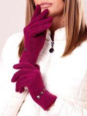 Fuksjowe proste rękawiczki z ćwiekami