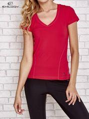 Fusjowy t-shirt sportowy w poziomy prążek