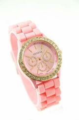 GENEVA Jasnoróżowy zegarek damski z cyrkoniami na silikonowym pasku