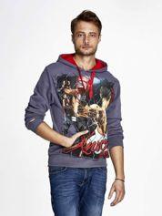 Grafitowa bluza męska z bokserskim nadrukiem