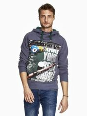 Grafitowa bluza męska z napisem MAKE YOUR BEST SHOUT