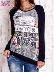 Granatowa bluza z miejskim nadrukiem