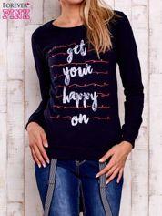 Granatowa bluza z napisem GET YOUR HAPPY ON