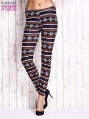 Granatowe legginsy z zimowym nadrukiem