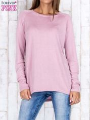 Jasnofioletowy sweter z dłuższym tyłem i zakładką na plecach