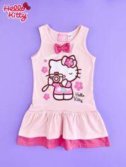 Jasnoróżowa sukienka dla dziewczynki z kokardką HELLO KITTY