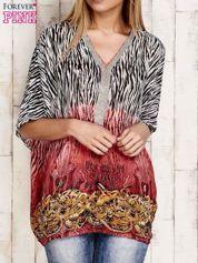 Koralowa wzorzysta koszula oversize z dekoltem z cyrkonii