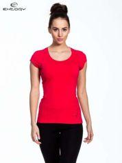Koralowy damski t-shirt sportowy basic
