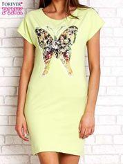 Limonkowa sukienka z cekinowym motylem