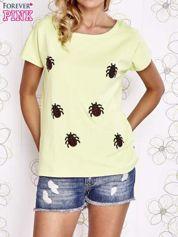 Limonkowy t-shirt z nadrukiem owadów