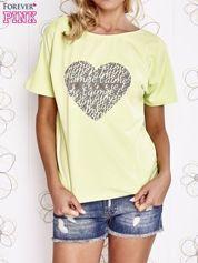 Limonkowy t-shirt z napisem JE T'AIME i dekoltem na plecach